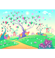 Springy landscape with windmills vector image
