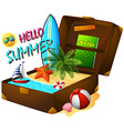 Summer theme with suitcase and ocean vector image
