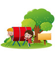 two kids playing in the playground vector image vector image