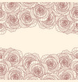 two linear rose flower borders on white background vector image