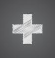 plus sketch logo doodle icon vector image