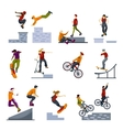 Extreme City Sports Flat Icons Set vector image
