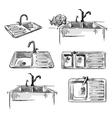 Set of kitchen sinks vector image