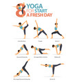 8 yoga poses for workout in start a fresh day vector image