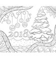adult coloring bookpage a christmas background vector image