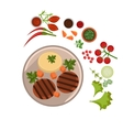Appetizing Steak on Plate vector image vector image