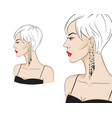 beautiful woman in profile wearing stylish vector image vector image