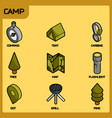 camp color outline isometric icons vector image vector image
