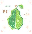 cartoon pear pear isolated vector image vector image