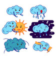 clouds cartoon emoji smily emoticons set vector image