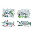 collection of sketches of large greenhouses full vector image vector image