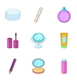 Cosmetic icons set cartoon style vector image vector image