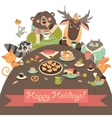 Cute animals celebrating holidays vector image vector image