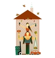 Family and the house vector | Price: 3 Credits (USD $3)