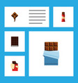 flat icon cacao set of delicious bitter sweet vector image vector image