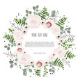 floral card design with pink creamy white garden vector image vector image