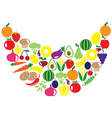 fruits veggies smile vector image vector image
