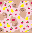 funny seamless pattern with smiling hedgehogs vector image vector image