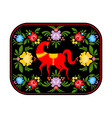 Gorodets painting red horse and floral elements vector image vector image