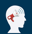 human head with a megaphone inside vector image vector image