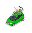 isometric mini car with two bicycles mounted on vector image vector image