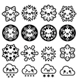 Kawaii snowflakes clouds with snow - Christmas vector image vector image
