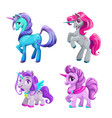 little cute cartoon unicorn icons set beautiful vector image