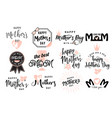 logo set emblem for mother vector image vector image