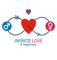 love couple conceptual logo unique symbol male vector image vector image