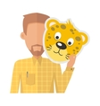 Man Without Face with Tiger Mask Isolated vector image vector image
