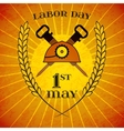 May 1st Labor Day Helmet and hammers wheat ears vector image vector image