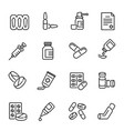 medical drugs medications linear icons set vector image vector image