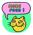 more food cartoon cat head speech bubble vector image vector image