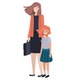 mother and daughter standing avatar character vector image vector image