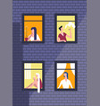 people in night windows in daily routine vector image vector image