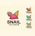 playful snail ice cream cartoon logo vector image