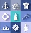 Sailor and ships flat icon set vector image