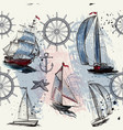 seamless background with hand drawn ships vector image vector image