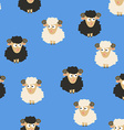 Seamless Pattern with White and Black Sheep vector image vector image