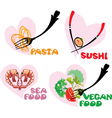 Set of Food Icons in hearts shapes Japanese Cuisin vector image