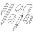 set of pencil eraser and pencil sharpener vector image vector image