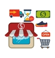 shopping market shop store icon set vector image