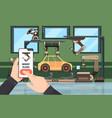 smartphone control conveyor hands holding vector image