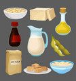 soya food products set milk oil sauce tofu vector image