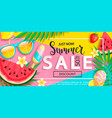 summer sale banner with summer symbols vector image vector image