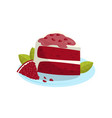 tasty piece of cake with pomegranate sweet fruit vector image