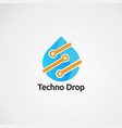 techno drop with orange color touch logo icon vector image
