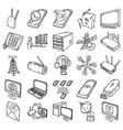 telecommunication set icon doodle hand drawn vector image