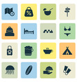 tourism icons set with tent with fire coffee vector image