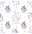 unicorn castle fairy tale seamless pattern vector image